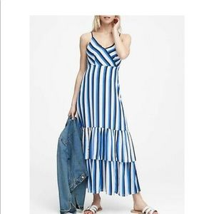 Banana Republic Spaghetti Strap Striped Maxi Dress